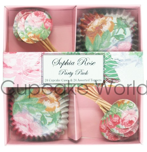 ROBERT GORDON SOPHIA ROSE CUPCAKE CASE & TOPPER PARTY 24 SETS